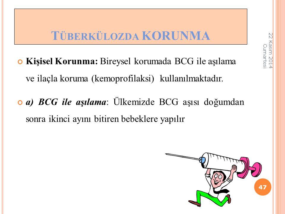 Kişisel Korunma: Bireysel korumada BCG ile aşılama ve ilaçla koruma (kemoprofilaksi) kullanılmaktadır. a) BCG ile aşılama: Ülkemizde BCG aşısı doğumda