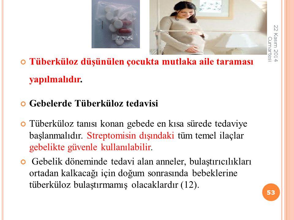 Tüberküloz düşünülen çocukta mutlaka aile taraması yapılmalıdır. Gebelerde Tüberküloz tedavisi Tüberküloz tanısı konan gebede en kısa sürede tedaviye