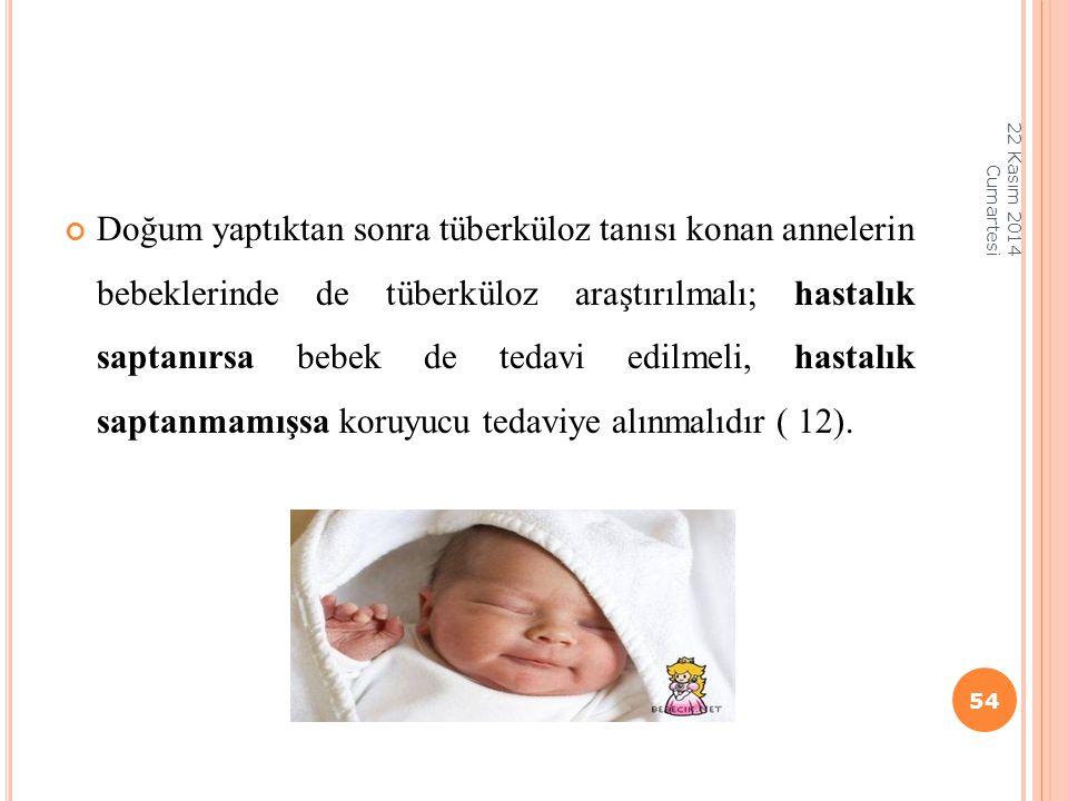 Doğum yaptıktan sonra tüberküloz tanısı konan annelerin bebeklerinde de tüberküloz araştırılmalı; hastalık saptanırsa bebek de tedavi edilmeli, hastal