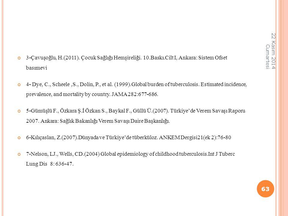 3-Çavuşoğlu, H.(2011). Çocuk Sağlığı Hemşireliği. 10.Baskı.Cilt I, Ankara: Sistem Ofset basımevi 4- Dye, C., Scheele,S., Dolin, P., et al. (1999).Glob