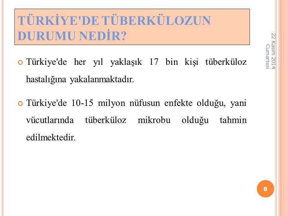 Türkiye'de her yıl yaklaşık 17 bin kişi tüberküloz hastalığına yakalanmaktadır. Türkiye'de 10-15 milyon nüfusun enfekte olduğu, yani vücutlarında tübe