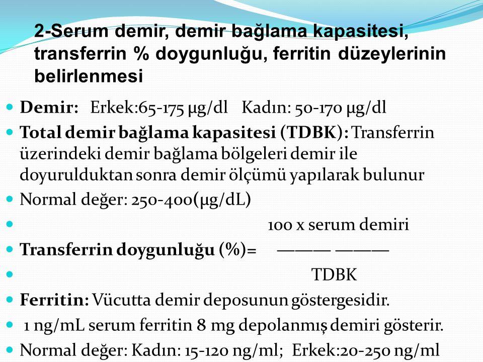 2-Serum demir, demir bağlama kapasitesi, transferrin % doygunluğu, ferritin düzeylerinin belirlenmesi Demir: Erkek:65-175 µg/dl Kadın: 50-170 µg/dl Total demir bağlama kapasitesi (TDBK): Transferrin üzerindeki demir bağlama bölgeleri demir ile doyurulduktan sonra demir ölçümü yapılarak bulunur Normal değer: 250-400(µg/dL) 100 x serum demiri Transferrin doygunluğu (%)= ――― ――― TDBK Ferritin: Vücutta demir deposunun göstergesidir.