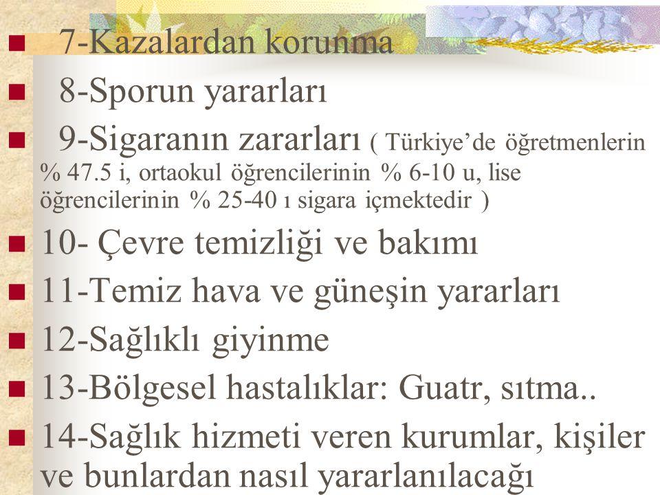 7-Kazalardan korunma 8-Sporun yararları 9-Sigaranın zararları ( Türkiye'de öğretmenlerin % 47.5 i, ortaokul öğrencilerinin % 6-10 u, lise öğrencilerin