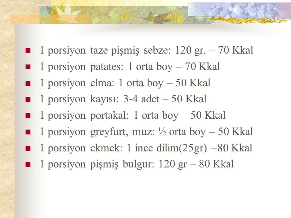 1 porsiyon taze pişmiş sebze: 120 gr. – 70 Kkal 1 porsiyon patates: 1 orta boy – 70 Kkal 1 porsiyon elma: 1 orta boy – 50 Kkal 1 porsiyon kayısı: 3-4