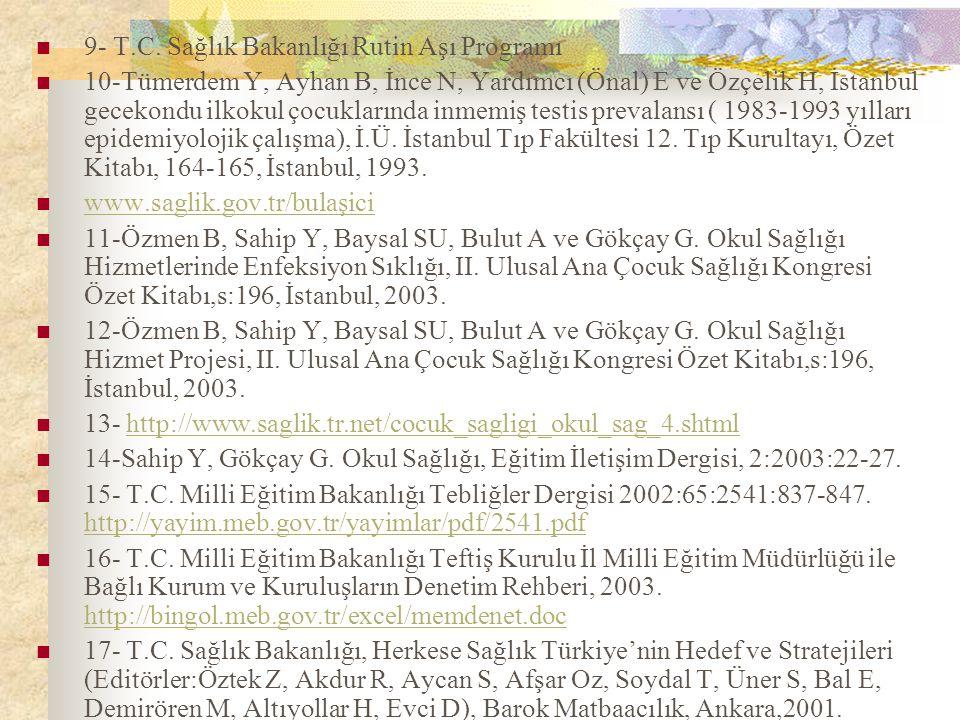 9- T.C. Sağlık Bakanlığı Rutin Aşı Programı 10-Tümerdem Y, Ayhan B, İnce N, Yardımcı (Önal) E ve Özçelik H, İstanbul gecekondu ilkokul çocuklarında in