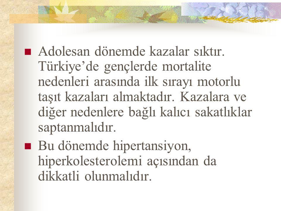 Adolesan dönemde kazalar sıktır. Türkiye'de gençlerde mortalite nedenleri arasında ilk sırayı motorlu taşıt kazaları almaktadır. Kazalara ve diğer ned
