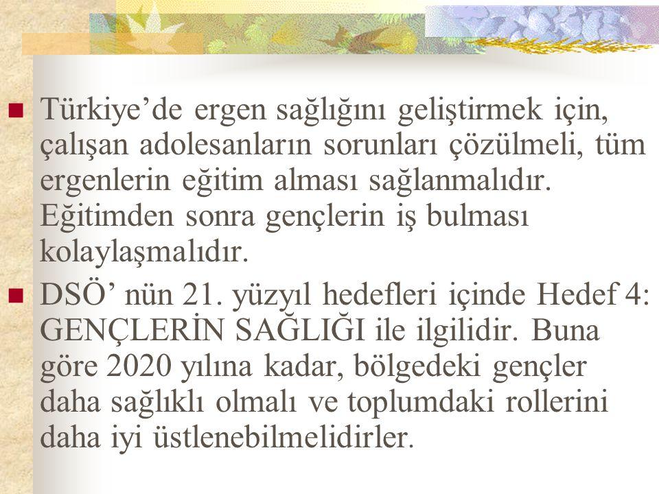 Türkiye'de ergen sağlığını geliştirmek için, çalışan adolesanların sorunları çözülmeli, tüm ergenlerin eğitim alması sağlanmalıdır. Eğitimden sonra ge