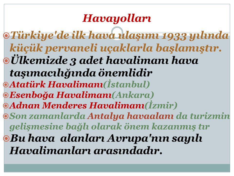 Havayolları  Türkiye de ilk hava ulaşımı 1933 yılında küçük pervaneli uçaklarla başlamıştır.