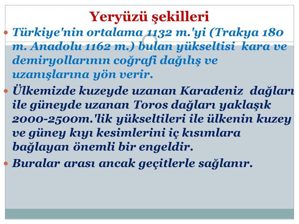 Yeryüzü şekilleri Türkiye nin ortalama 1132 m. yi (Trakya 180 m.