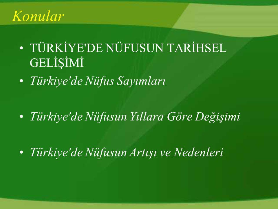 Konular TÜRKİYE DE NÜFUSUN TARİHSEL GELİŞİMİ Türkiye de Nüfus Sayımları Türkiye de Nüfusun Yıllara Göre Değişimi Türkiye de Nüfusun Artışı ve Nedenleri
