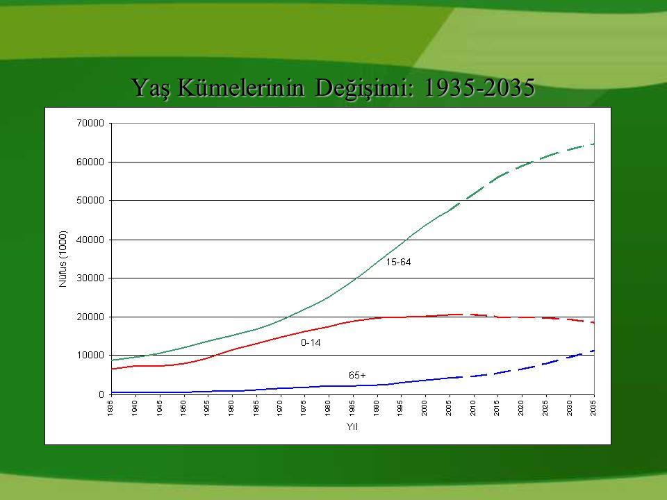 Yaş Kümelerinin Değişimi: 1935-2035