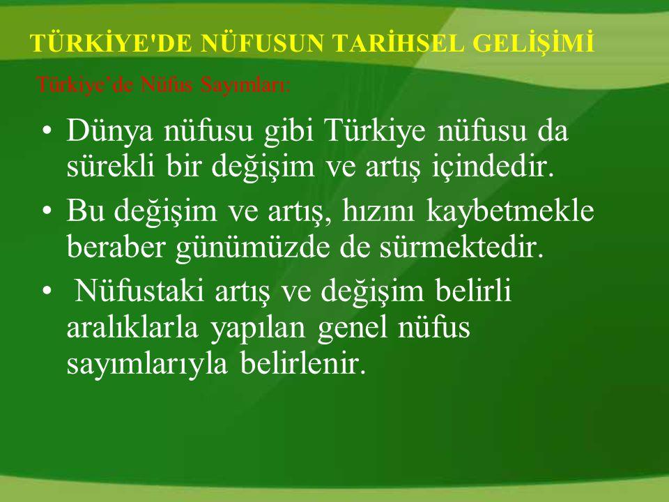 TÜRKİYE DE NÜFUSUN TARİHSEL GELİŞİMİ Dünya nüfusu gibi Türkiye nüfusu da sürekli bir değişim ve artış içindedir.
