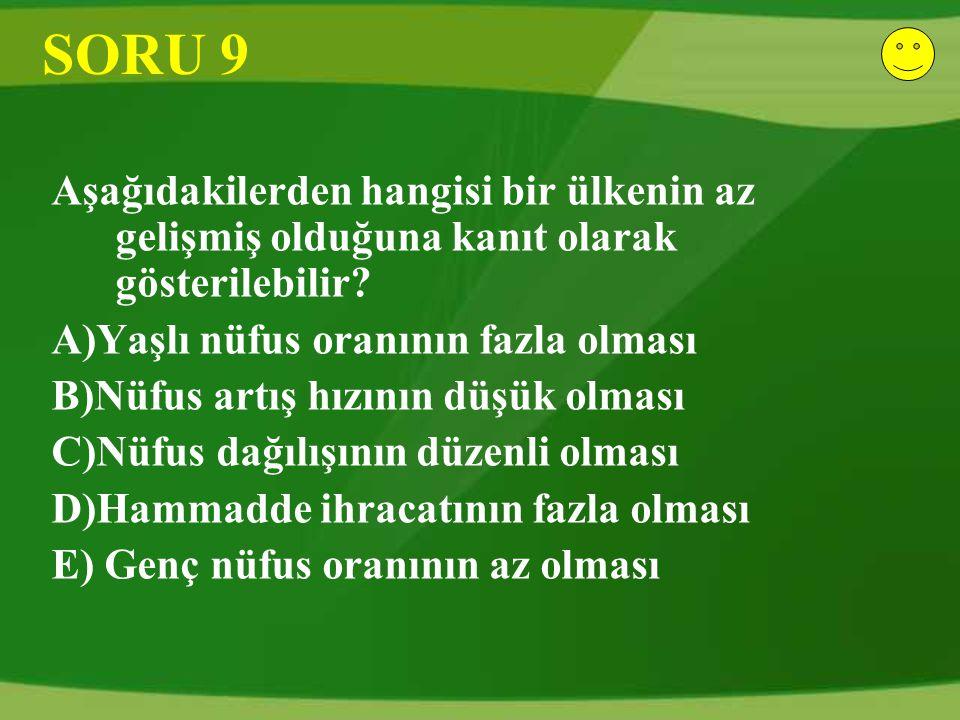 SORU 9 Aşağıdakilerden hangisi bir ülkenin az gelişmiş olduğuna kanıt olarak gösterilebilir.
