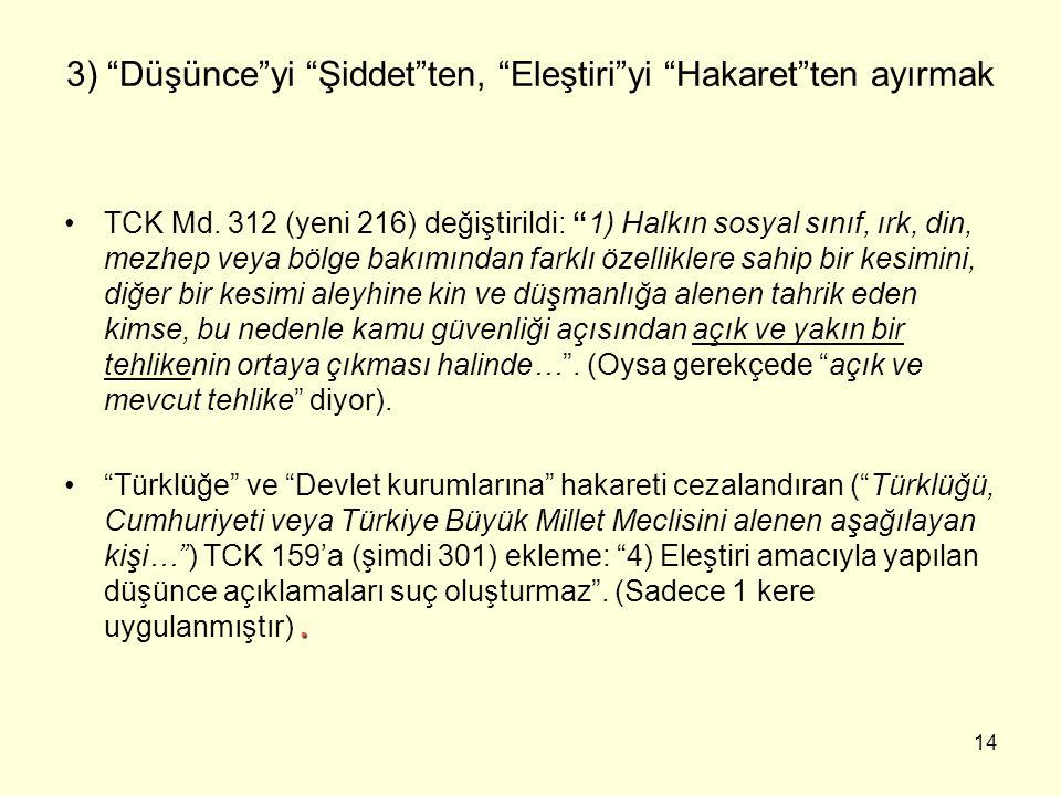 14 3) Düşünce yi Şiddet ten, Eleştiri yi Hakaret ten ayırmak TCK Md.