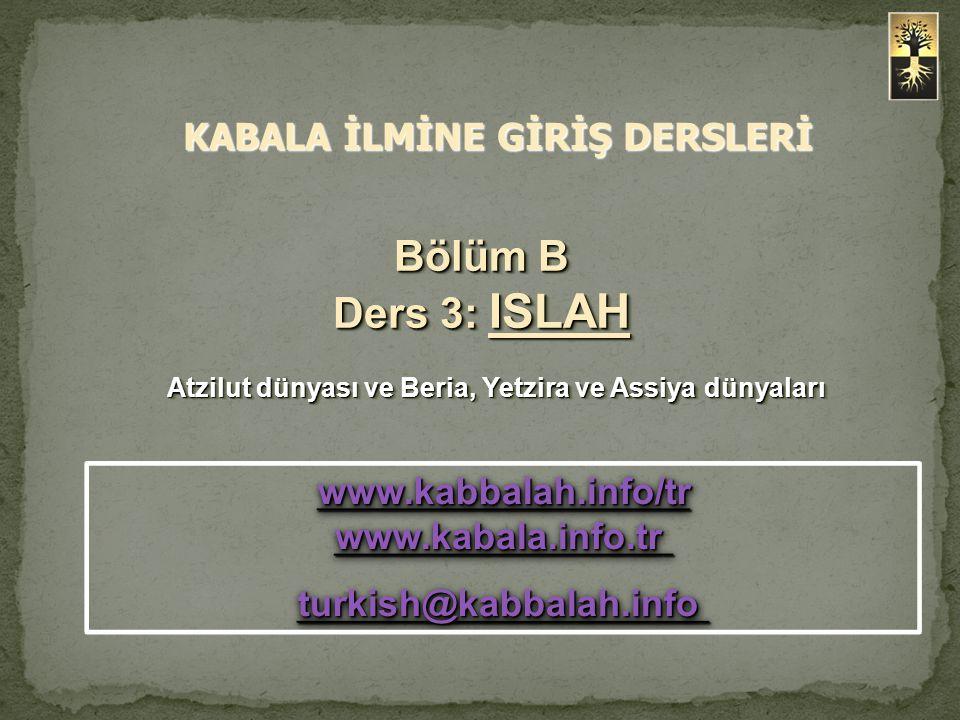 Bölüm B Ders 3: ISLAH Atzilut dünyası ve Beria, Yetzira ve Assiya dünyaları Atzilut dünyası ve Beria, Yetzira ve Assiya dünyaları Bölüm B Ders 3: ISLA