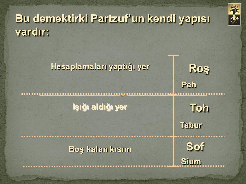 Bu demektirki Partzuf'un kendi yapısı vardır: Roş TohToh PehPeh TaburTabur SiumSium Hesaplamaları yaptığı yer Boş kalan kısım SofSof Işığı aldığı yer