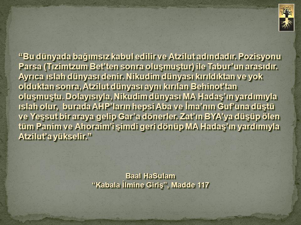 """""""Bu dünyada bağımsız kabul edilir ve Atzilut adındadır. Pozisyonu Parsa (Tızimtzum Bet'ten sonra oluşmuştur) ile Tabur'un arasıdır. Ayrıca ıslah dünya"""
