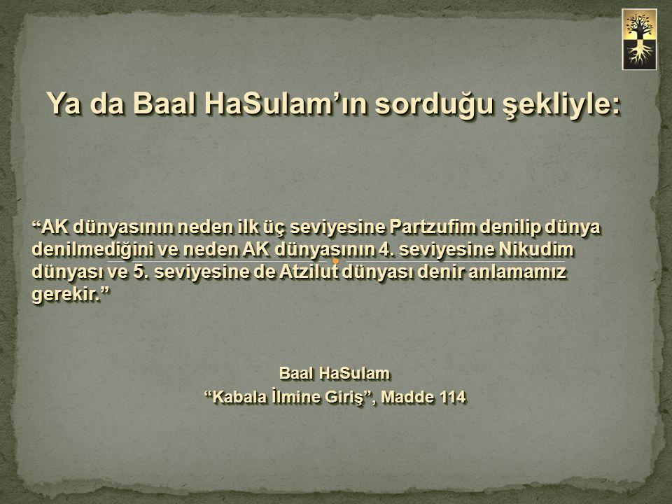 """Ya da Baal HaSulam'ın sorduğu şekliyle: """" AK dünyasının neden ilk üç seviyesine Partzufim denilip dünya denilmediğini ve neden AK dünyasının 4. seviye"""