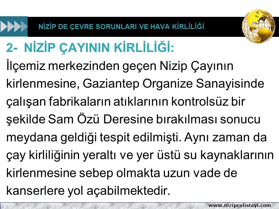 www.nizipcalistayi.com NİZİP DE ÇEVRE SORUNLARI VE HAVA KİRLİLİĞİ 2- NİZİP ÇAYININ KİRLİLİĞİ: İlçemiz merkezinden geçen Nizip Çayının kirlenmesine, Ga