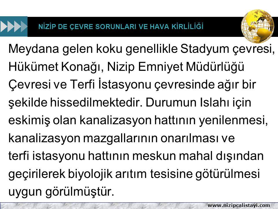 www.nizipcalistayi.com NİZİP DE ÇEVRE SORUNLARI VE HAVA KİRLİLİĞİ Meydana gelen koku genellikle Stadyum çevresi, Hükümet Konağı, Nizip Emniyet Müdürlü