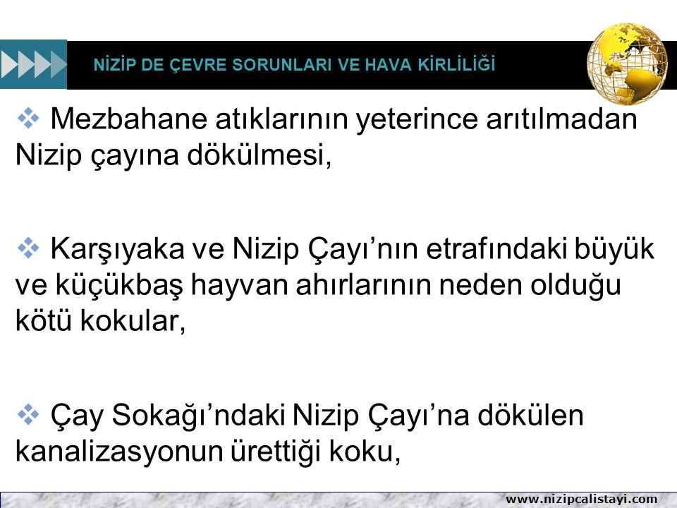 www.nizipcalistayi.com NİZİP DE ÇEVRE SORUNLARI VE HAVA KİRLİLİĞİ  Mezbahane atıklarının yeterince arıtılmadan Nizip çayına dökülmesi,  Karşıyaka ve