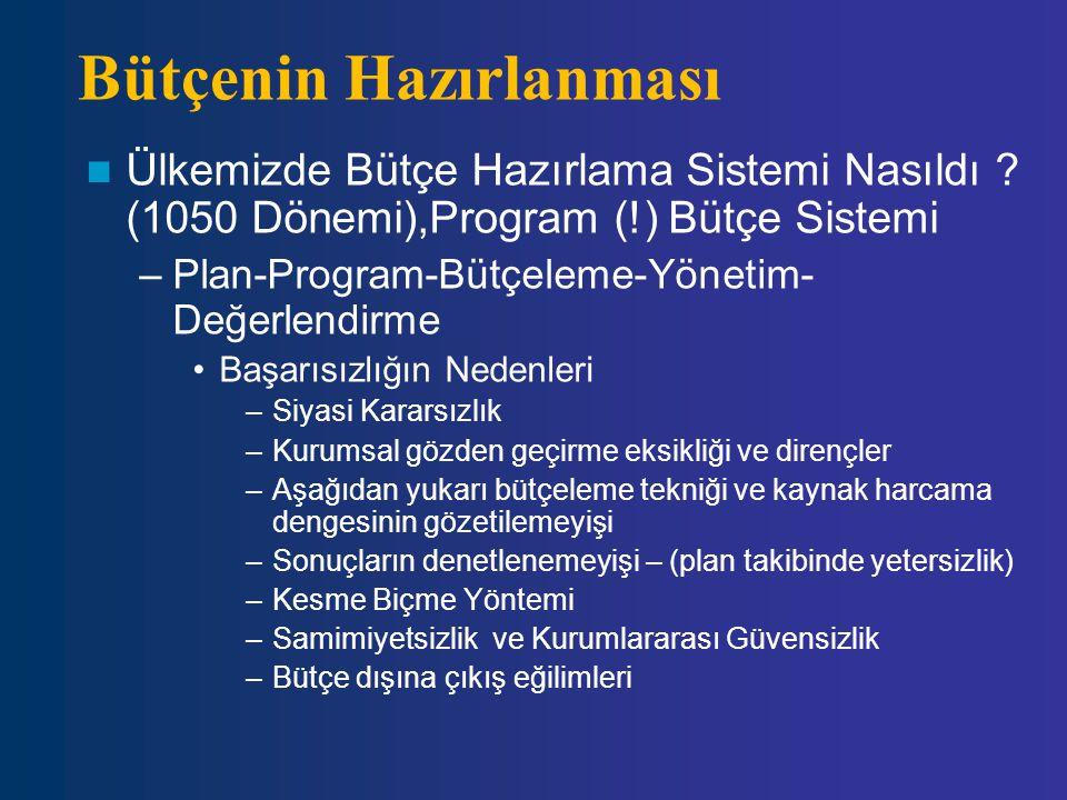 Bütçenin Hazırlanması Ülkemizde Bütçe Hazırlama Sistemi Nasıldı ? (1050 Dönemi),Program (!) Bütçe Sistemi –Plan-Program-Bütçeleme-Yönetim- Değerlendir