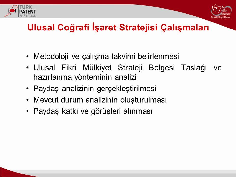 Ulusal Coğrafi İşaret Stratejisi Çalışmaları Metodoloji ve çalışma takvimi belirlenmesi Ulusal Fikri Mülkiyet Strateji Belgesi Taslağı ve hazırlanma y