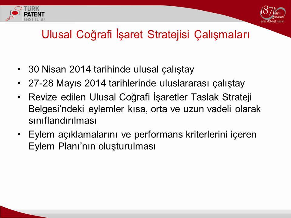 Ulusal Coğrafi İşaret Stratejisi Çalışmaları 30 Nisan 2014 tarihinde ulusal çalıştay 27-28 Mayıs 2014 tarihlerinde uluslararası çalıştay Revize edilen