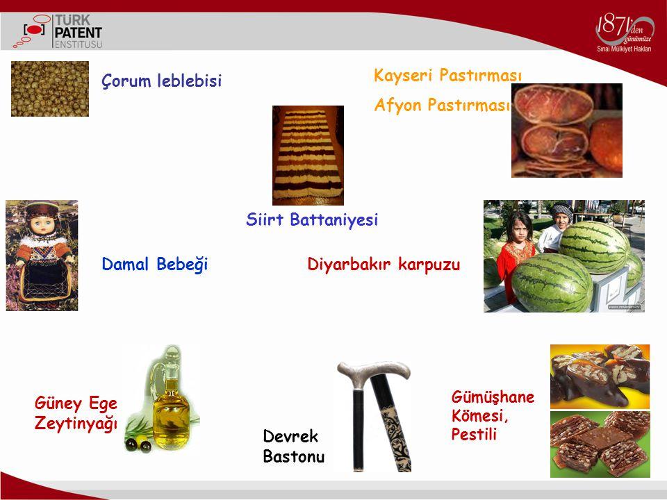Damal Bebeği Kayseri Pastırması Afyon Pastırması Siirt Battaniyesi Güney Ege Zeytinyağı Devrek Bastonu Gümüşhane Kömesi, Pestili Çorum leblebisi Diyar