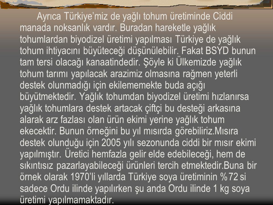 Ayrıca Türkiye'miz de yağlı tohum üretiminde Ciddi manada noksanlık vardır. Buradan hareketle yağlık tohumlardan biyodizel üretimi yapılması Türkiye d