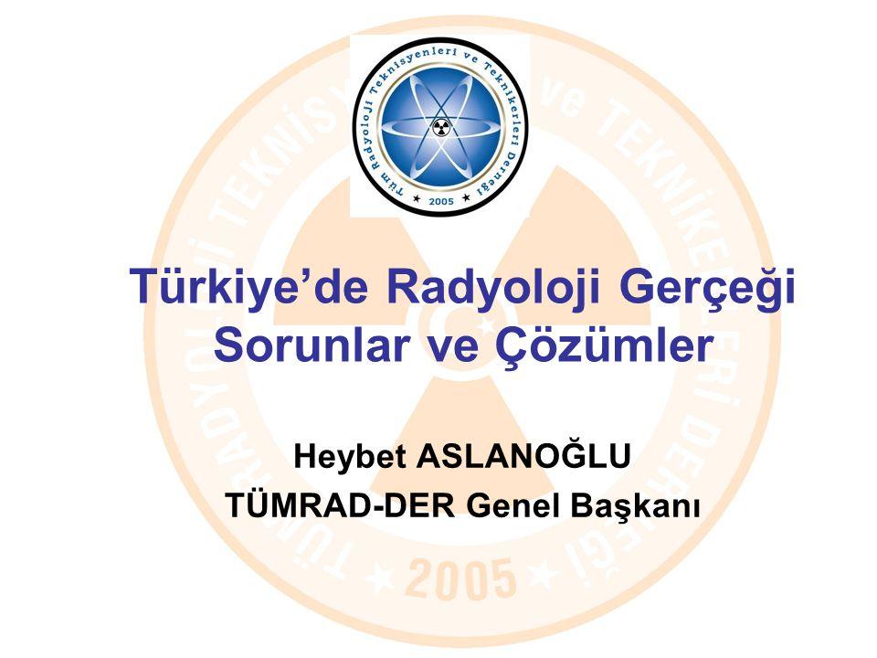 Türkiye'de Radyoloji Gerçeği Sorunlar ve Çözümler Heybet ASLANOĞLU TÜMRAD-DER Genel Başkanı
