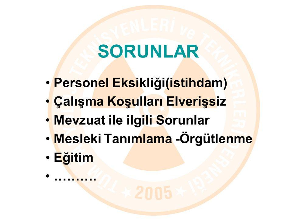 Personel Eksikliği(istihdam) Çalışma Koşulları Elverişsiz Mevzuat ile ilgili Sorunlar Mesleki Tanımlama -Örgütlenme Eğitim ……….