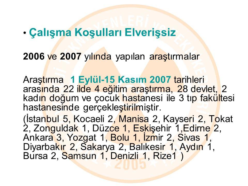Çalışma Koşulları Elverişsiz 2006 ve 2007 yılında yapılan araştırmalar Araştırma 1 Eylül-15 Kasım 2007 tarihleri arasında 22 ilde 4 eğitim araştırma,