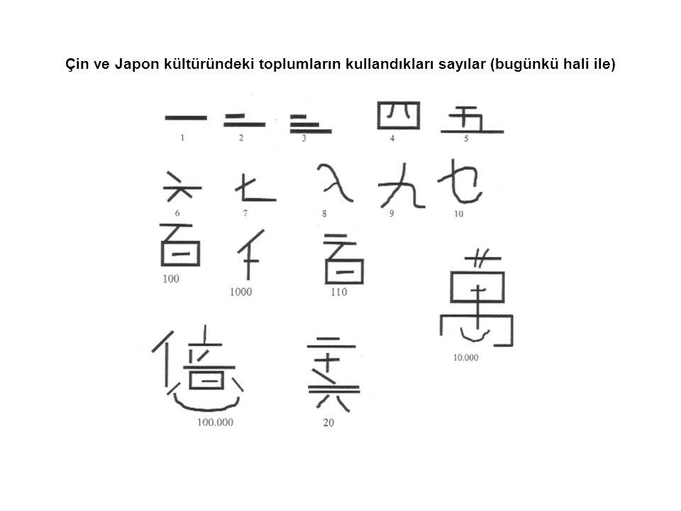 Çin ve Japon kültüründeki toplumların kullandıkları sayılar (bugünkü hali ile)