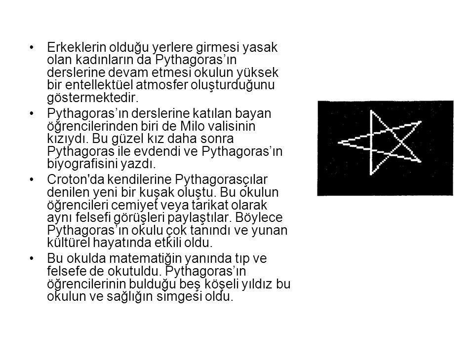 Erkeklerin olduğu yerlere girmesi yasak olan kadınların da Pythagoras'ın derslerine devam etmesi okulun yüksek bir entellektüel atmosfer oluşturduğunu
