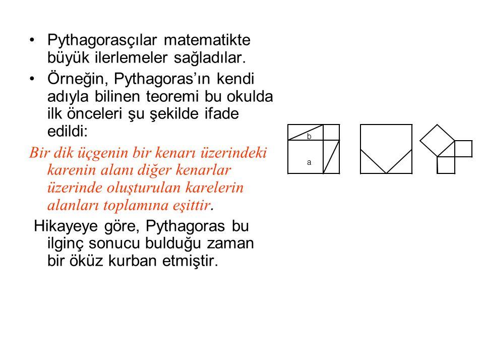 Pythagorasçılar matematikte büyük ilerlemeler sağladılar. Örneğin, Pythagoras'ın kendi adıyla bilinen teoremi bu okulda ilk önceleri şu şekilde ifade