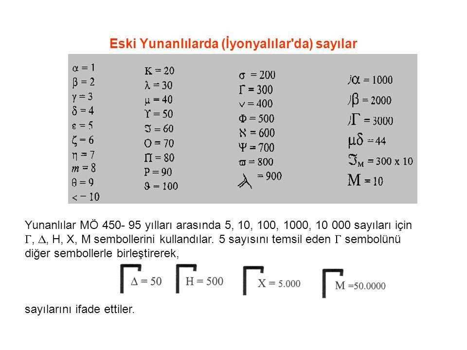 Eski Yunanlılarda (İyonyalılar'da) sayılar Yunanlılar MÖ 450- 95 yılları arasında 5, 10, 100, 1000, 10 000 sayıları için , , H, X, M sembollerini ku