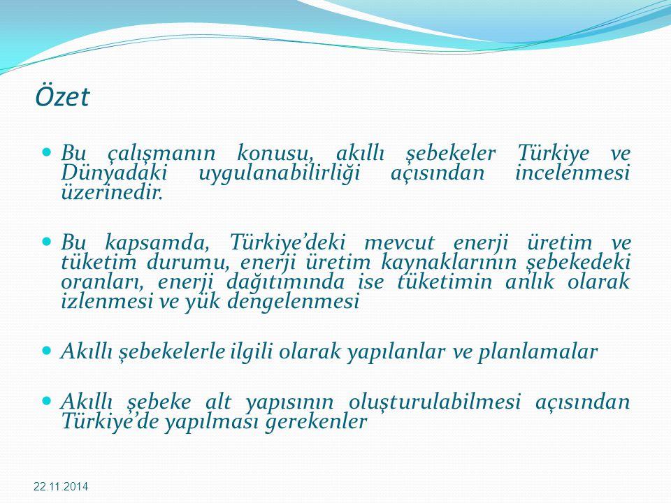 Özet Bu çalışmanın konusu, akıllı şebekeler Türkiye ve Dünyadaki uygulanabilirliği açısından incelenmesi üzerinedir. Bu kapsamda, Türkiye'deki mevcut
