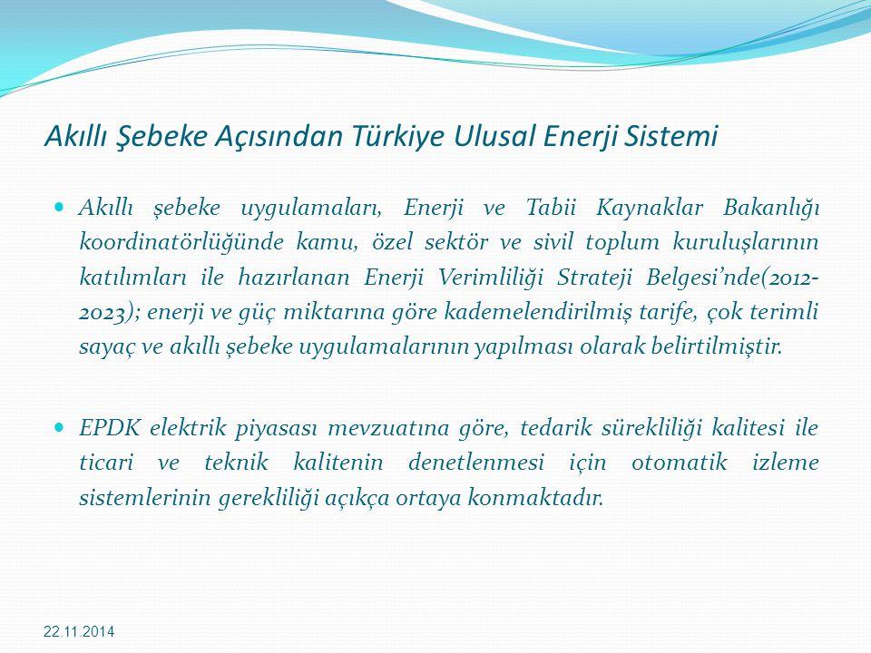 Akıllı Şebeke Açısından Türkiye Ulusal Enerji Sistemi Akıllı şebeke uygulamaları, Enerji ve Tabii Kaynaklar Bakanlığı koordinatörlüğünde kamu, özel se