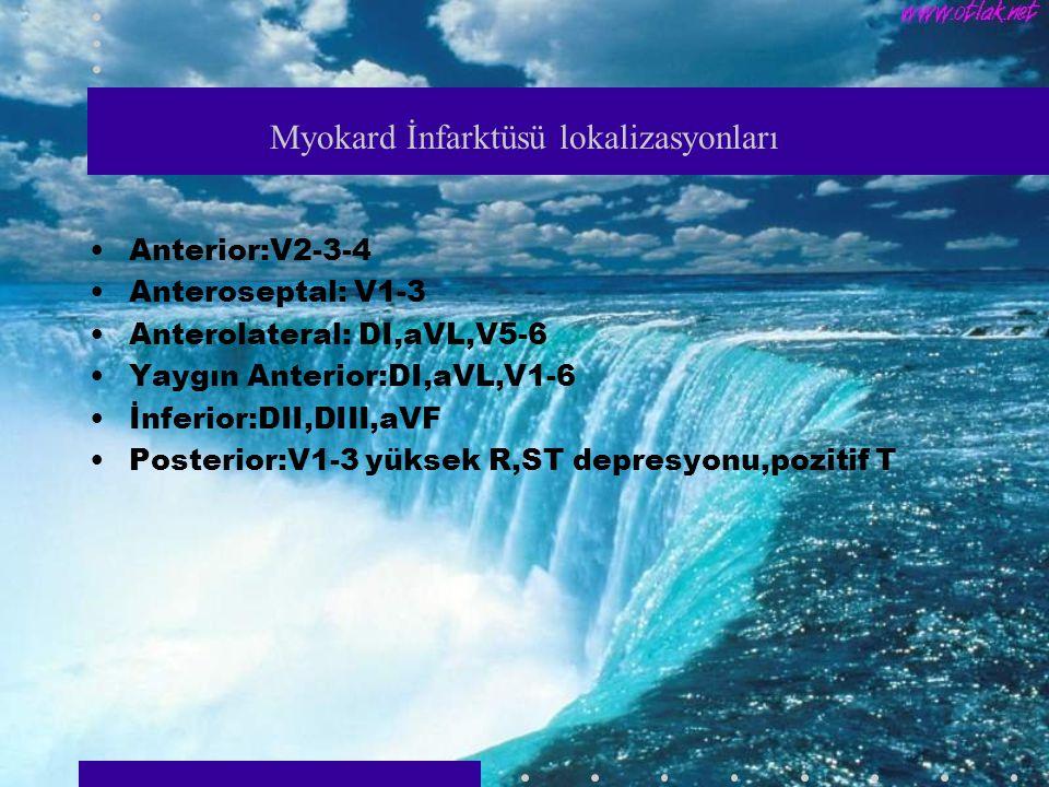 Myokard İnfarktüsü lokalizasyonları Anterior:V2-3-4 Anteroseptal: V1-3 Anterolateral: DI,aVL,V5-6 Yaygın Anterior:DI,aVL,V1-6 İnferior:DII,DIII,aVF Posterior:V1-3 yüksek R,ST depresyonu,pozitif T