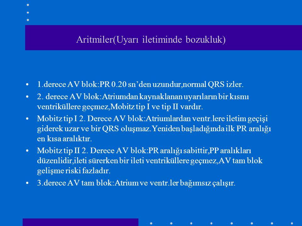 Aritmiler(Uyarı iletiminde bozukluk) 1.derece AV blok:PR 0.20 sn'den uzundur,normal QRS izler. 2. derece AV blok:Atriumdan kaynaklanan uyarıların bir