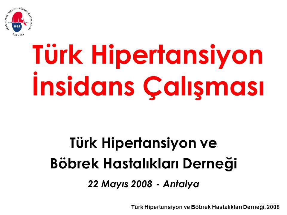 Türk Hipertansiyon ve Böbrek Hastalıkları Derneği, 2008 Türk Hipertansiyon İnsidans Çalışması Türk Hipertansiyon ve Böbrek Hastalıkları Derneği 22 Mayıs 2008 - Antalya