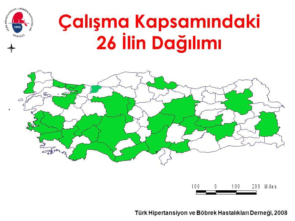 Türk Hipertansiyon ve Böbrek Hastalıkları Derneği, 2008 Çalışma Kapsamındaki 26 İlin Dağılımı