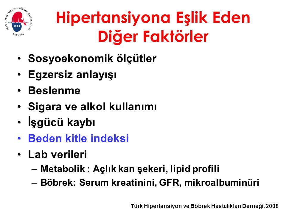 Türk Hipertansiyon ve Böbrek Hastalıkları Derneği, 2008 Hipertansiyona Eşlik Eden Diğer Faktörler Sosyoekonomik ölçütler Egzersiz anlayışı Beslenme Sigara ve alkol kullanımı İşgücü kaybı Beden kitle indeksi Lab verileri –Metabolik : Açlık kan şekeri, lipid profili –Böbrek: Serum kreatinini, GFR, mikroalbuminüri