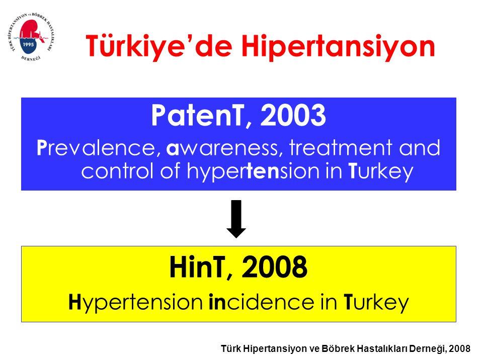 Türk Hipertansiyon ve Böbrek Hastalıkları Derneği, 2008 Türkiye'de Hipertansiyon PatenT, 2003 P revalence, a wareness, treatment and control of hyper ten sion in T urkey HinT, 2008 H ypertension in cidence in T urkey