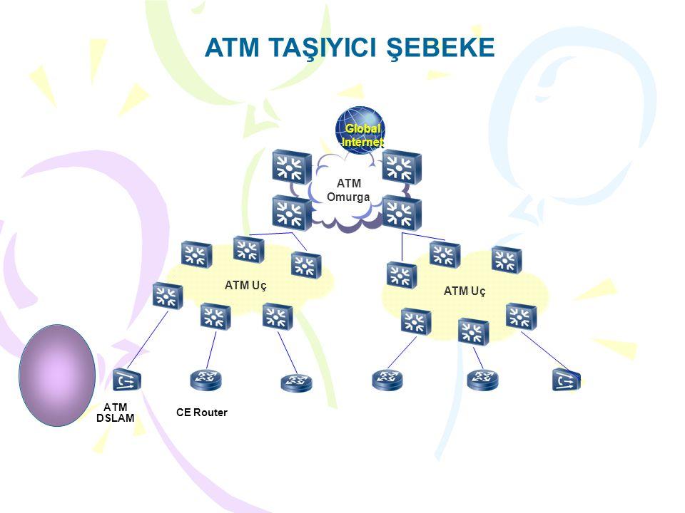 ATM TAŞIYICI ŞEBEKE ATM Omurga ATM Uç ATM DSLAM CE Router