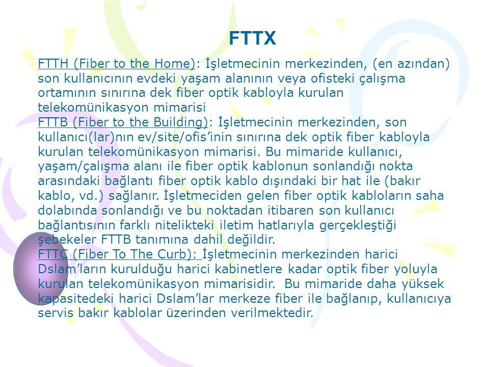 FTTX FTTH (Fiber to the Home): İşletmecinin merkezinden, (en azından) son kullanıcının evdeki yaşam alanının veya ofisteki çalışma ortamının sınırına dek fiber optik kabloyla kurulan telekomünikasyon mimarisi FTTB (Fiber to the Building): İşletmecinin merkezinden, son kullanıcı(lar)nın ev/site/ofis'inin sınırına dek optik fiber kabloyla kurulan telekomünikasyon mimarisi.