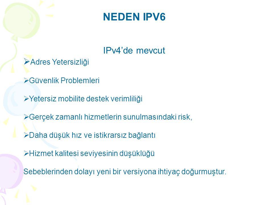 NEDEN IPV6 IPv4'de mevcut  Adres Yetersizliği  Güvenlik Problemleri  Yetersiz mobilite destek verimliliği  Gerçek zamanlı hizmetlerin sunulmasındaki risk,  Daha düşük hız ve istikrarsız bağlantı  Hizmet kalitesi seviyesinin düşüklüğü Sebeblerinden dolayı yeni bir versiyona ihtiyaç doğurmuştur.