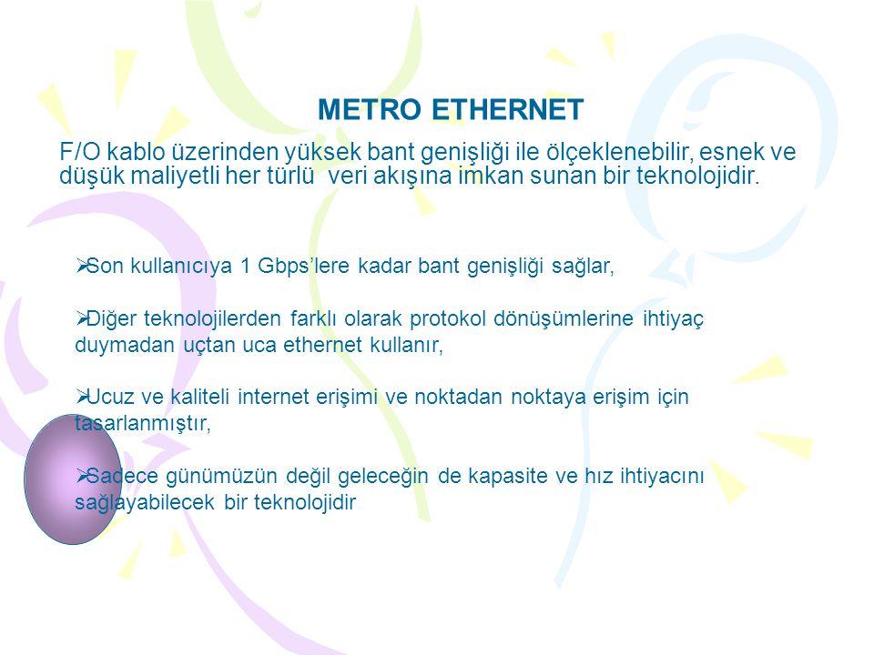 METRO ETHERNET F/O kablo üzerinden yüksek bant genişliği ile ölçeklenebilir, esnek ve düşük maliyetli her türlü veri akışına imkan sunan bir teknolojidir.
