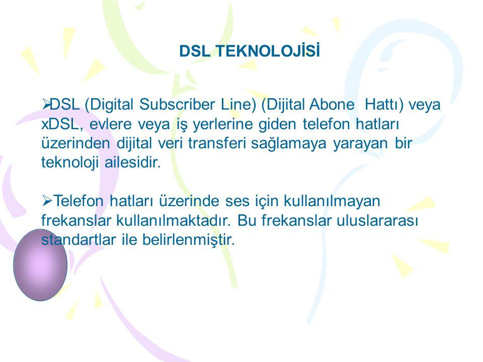 DSL TEKNOLOJİSİ  DSL (Digital Subscriber Line) (Dijital Abone Hattı) veya xDSL, evlere veya iş yerlerine giden telefon hatları üzerinden dijital veri transferi sağlamaya yarayan bir teknoloji ailesidir.